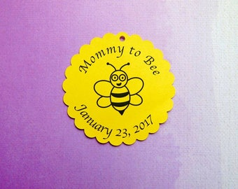 Custom Favor Tags, Baby Shower Tags,  Personalized Favor Tags, Baptism Favor Tags,  Baby Shower Favor Tags, Bee Tags, Mommy to Bee Tags