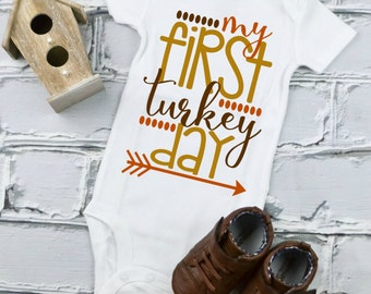 First Thanksgiving Bodysuit - Thanksgiving Shirt - Child Holiday Shirt - Fall Clothes For Babies -  Baby's First Thanksgiving Outfit - Baby