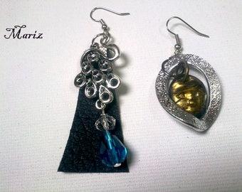 Asymmetrical earrings,unique