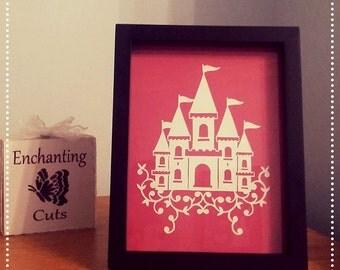 Princess Castle Papercut Design Framed, gift, christmas, present, swirls, fairytale, baby girl, papercraft, handmade, christening