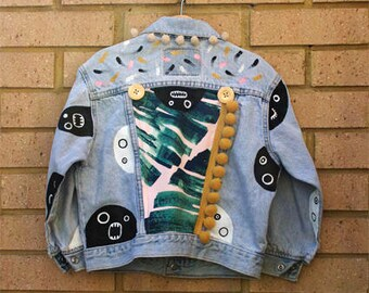 Hand Painted Monster Vintage Childs Denim Jacket