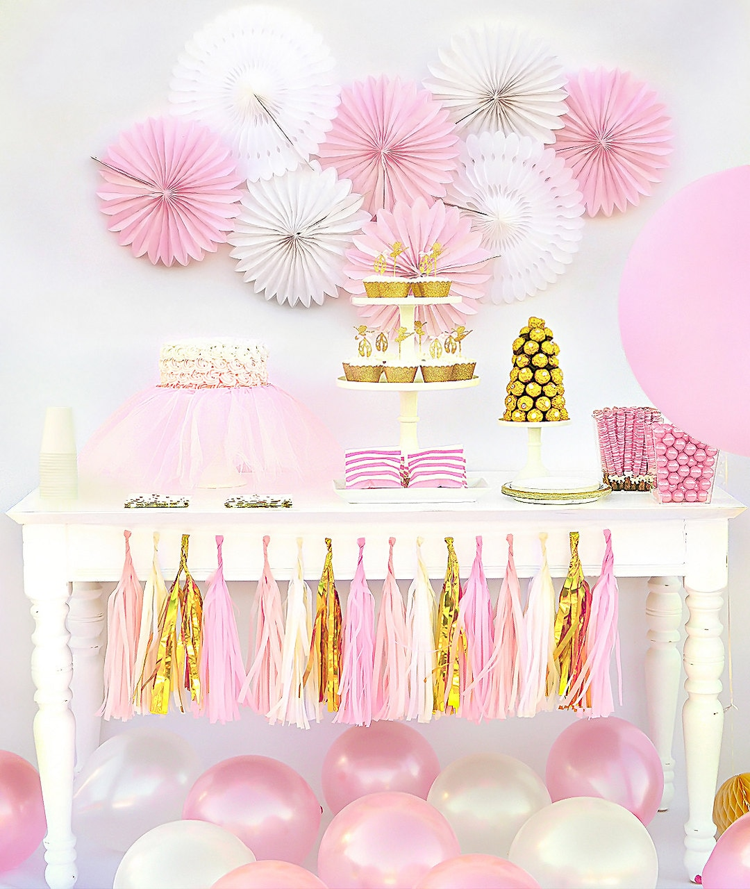 pink and gold baby shower ballerina party decorations by