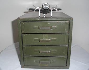 Small Green Rustic Metal Cabinet with Drawers