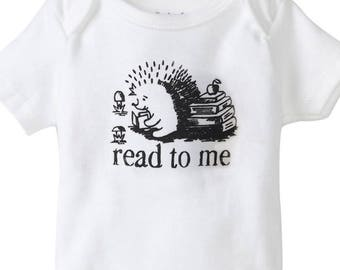 read to me onesie, book lover, book warm baby, smart baby, geek baby, nerd parents, gifts under 20, geek parents, porcupine, hedgehog baby