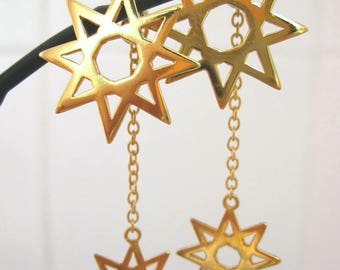 "Gold plated brass fretwork two-way earrings ""Stelle"""
