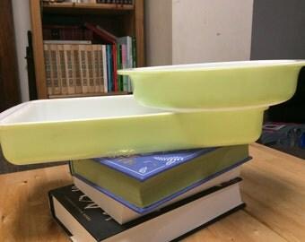 Lime green Pyrex dish