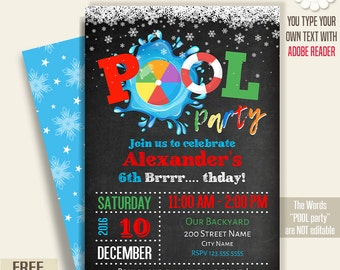 Pool party invitation, Printable winter pool party, chalkboard invite, Instant Download self Editable PDF File A218