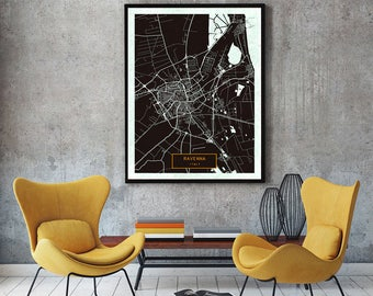 RAVENNA Italy CANVAS Large Art City Map Ravenna Print Poster Jt Wall