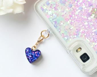 Antidust phone plug - Glitter violet phone charm