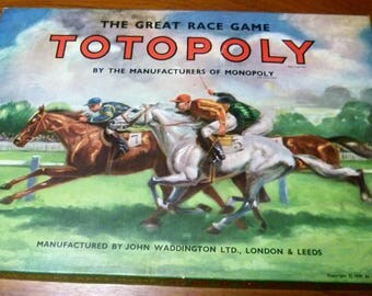 Totopoly by Waddingtons Vintage 1949 Game Horse Race Game