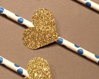 12 Gold Glitter Heart Party Straws Gold Heart Straws Baby Shower Straws Wedding Shower Straws Birthday Straws Bachelorette Straws