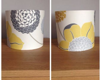 lampshades 2 x small handmade lampshades in a mustard and grey florals fabric 20cm