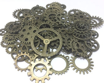 100 Steampunk Cogs Gears Machinery Mix Sizes/Designs - Antiqued Brass