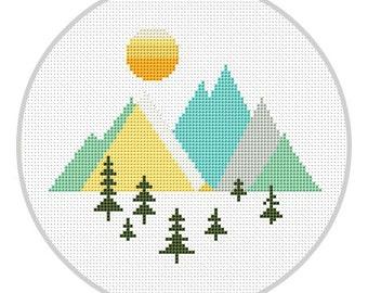 Mountains Geometric Cross Stitch Pattern Geometric Forest Scandinavian Mid Century Woodland cross stitch Modern cross stitch X178