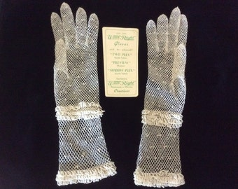 Vintage Gloves, Crocheted, Mid Arm, Original Tag, Never Worn, Made in Czechoslovakia