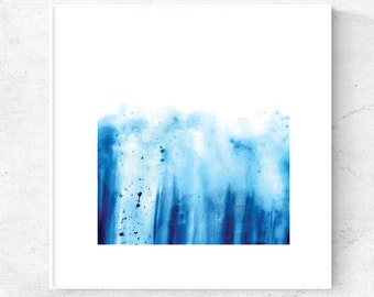 Digital download Abstract Blue watercolor art print on white background 5x5 print, 8x8 print, 12x12 print Instant download, square wall art.