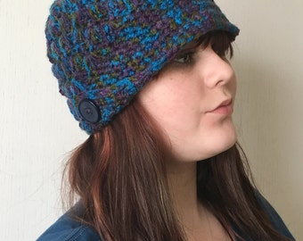 Dark Multi-Colored Hat with Buttoned Flap