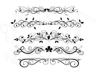 Graphics, Divider Flourish, Fancy Swirls and Ornamental Lines, PDF and JPG Files