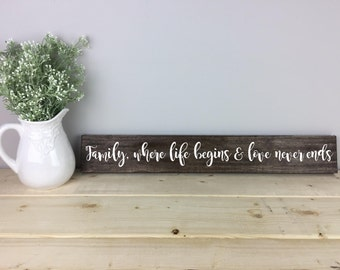 Family Where Life Begins and Love Never Ends | Family Sign | Housewarming Gift