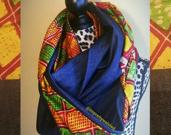 Ankara Print and Denim Infinity Scarf