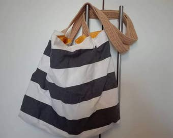 Large vintage bag, vintage bag, striped shoulder bag