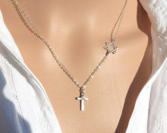 Star of David with Cross Necklace, Cross With Magen David Necklace, Silver Star of David Necklace, Messianic Star of David and Cross, Gift.