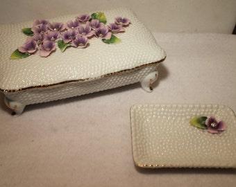 Vintage Norcrest Sweet Violets SV-2 Cigarette Box and Ashtray/Match holder