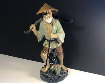 VINTAGE CHINA STATUE Fisherman porcelain ceramic finish sculpture figurine Wucai Kung Fu Master Shiwan signed artist pole yixing zisha beard