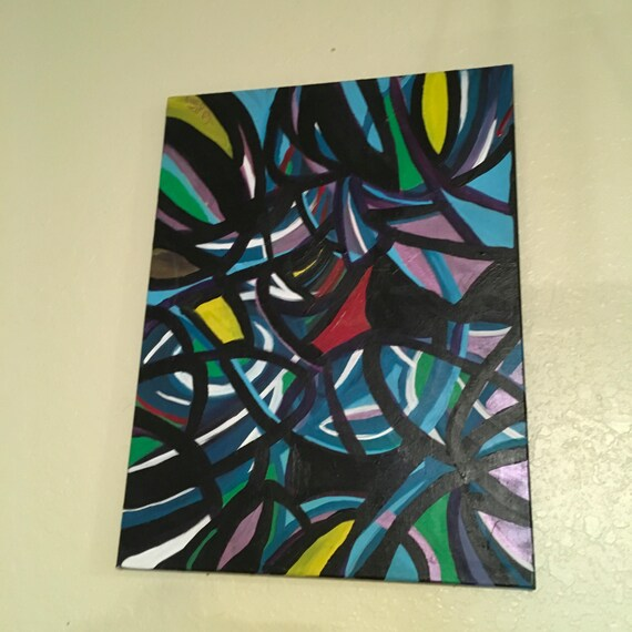 Original Acrylic Abstract Painting 24 x 16 'Stained Glass Moment'