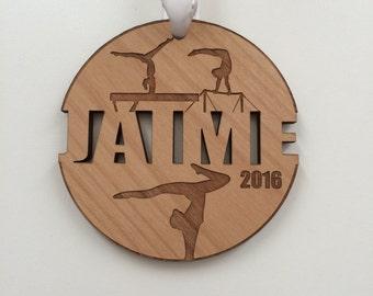 Gymnastics Ornament Gymnastics Gifts Gymnastics Mom Gymnastics Swag Engraved Ornament Personalized Custom Christmas Ornament Wood