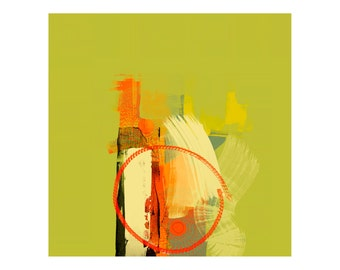 Green & Orange Abstract Art Giclee Print, Home Decor, Modern Artist, Digital Abstract, Large Wall Art, Professional Quality Wall Print