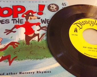 """Walt Disney 45 rpm """"Pop Goes The Weasel"""""""