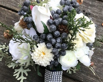 Rustic Winter Wedding Bouquet/Jr Maid Bouquet