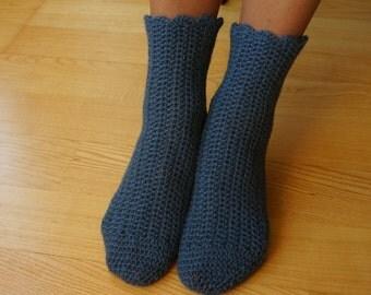 Crocheted turquoise grey alpaca socks