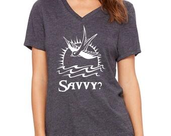 Disney Shirts Womens V Neck Savvy? Captain Jack Sparrow SHirt Shirt disney shirt disneyland Disney World Shirt Magic Kingdom Shirt