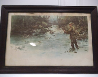 Unconquered - Fishing Print After An 1897 Painting - With Signature