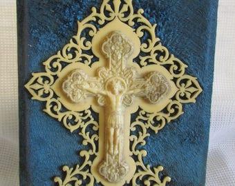 Beautiful antique French blue velvet and cream fretwork bakelite lucite cross crucifix plaque c1900-20