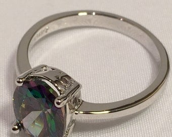 Size 7 Platinum Multicolor Cubic Zircon Ring, Mystic Topaz Ring