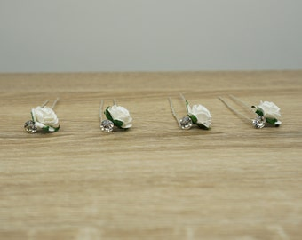 Swarovski Hair Clips, First Communion Bobby Pins, Hair Pins, Roses Bobby Pins, White Bobby Pins, White flower bobby pins, Bride Hair Pins,