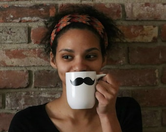 Mustache Coffee Mug, 12 oz, white mug