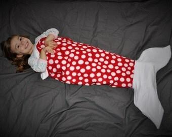 Mermaid Tail Blanket// Kids Blanket // Mermaid blanket // fleece blanket // kids throw blanket // red polka dot blanket // red mermaid tail