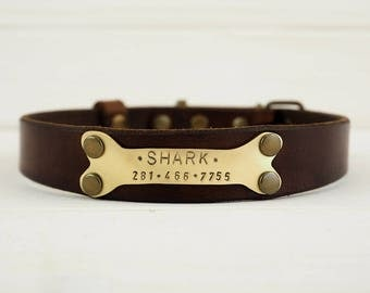 Dog Collar For Medium & Large dog , Leather Dog Collar, Dog Collar Leather, Personalized Dog Collar, Leather Collar, Dogs Name Plate