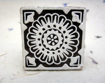 Wood Block Print Stamp, Mandala Flower Design, Mango Wood, Handmade, Indian, Henna, Textile Printing, Craft Supply, Wooden Ornament, Square