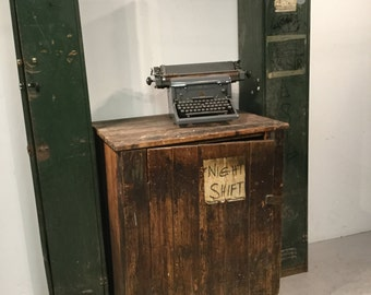 Rustic Vintage Industrial Pine Factory 'Night Shift' Cupboard
