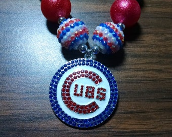 Chicago Baseball Team Spirit Bubblegum Necklace.  Rhinestone Cubs Inspired Pendant Gumball Necklace.  World Series Champions.  Fly the W.