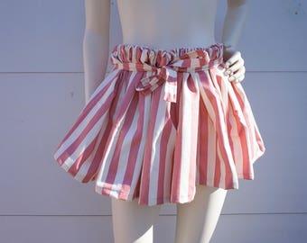 Pink and White Mini Skirt