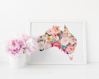 Australia Map wall art, Country art print, Home, Office decor, Printable wall art, Chic wall art, world map art print, map art, map print