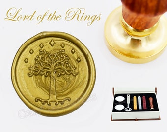 Lord of the Rings-White Tree of Gondor Wax Seal Stamp Kits-Sealing Wax Kits-Custom Wax Seal Gift Box Package-Wax Stamp Seal Set-30mm Round