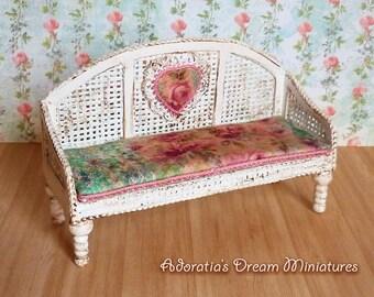 Dollhouse miniature garden bench 1:12 scale, miniature sofa, dollhouse miniature fully artisan 12th, Shabby Chic dollhouse furniture