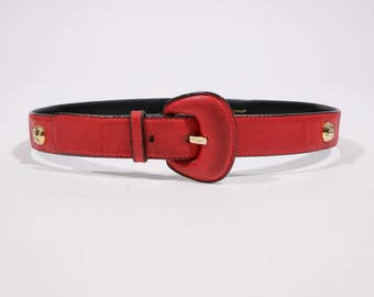 SALVATORE FERRAGAMO - Leather red belt
